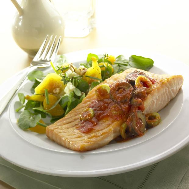 Broiled Salmon With Olive Tomato Vinaigrette