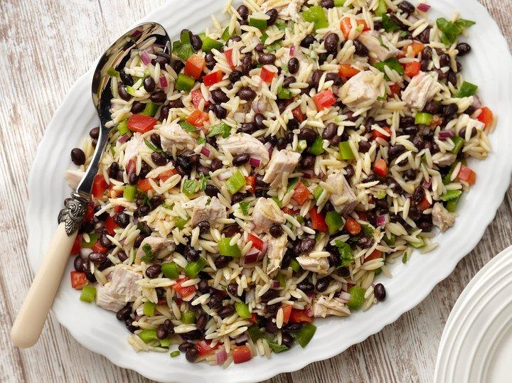 Festive Black Bean, Orzo, and Turkey Salad