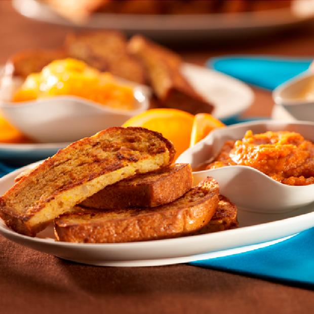 French Toast Fingers With Fruit And Vegetable Dips