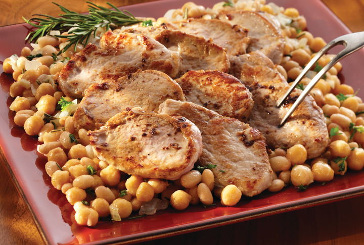 Pork on Herbed White Beans