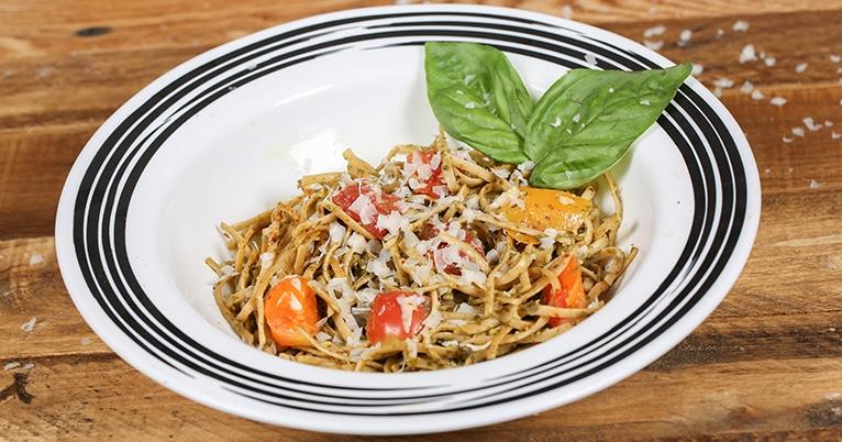 Pesto Pasta w/ Tri-Color Tomatoes