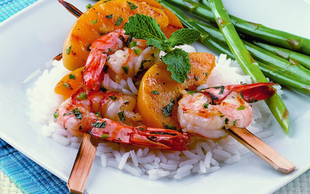 Shrimp and Peach Skewers