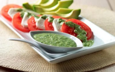 Tomato and Avocado Salad with Green Empress Dressing