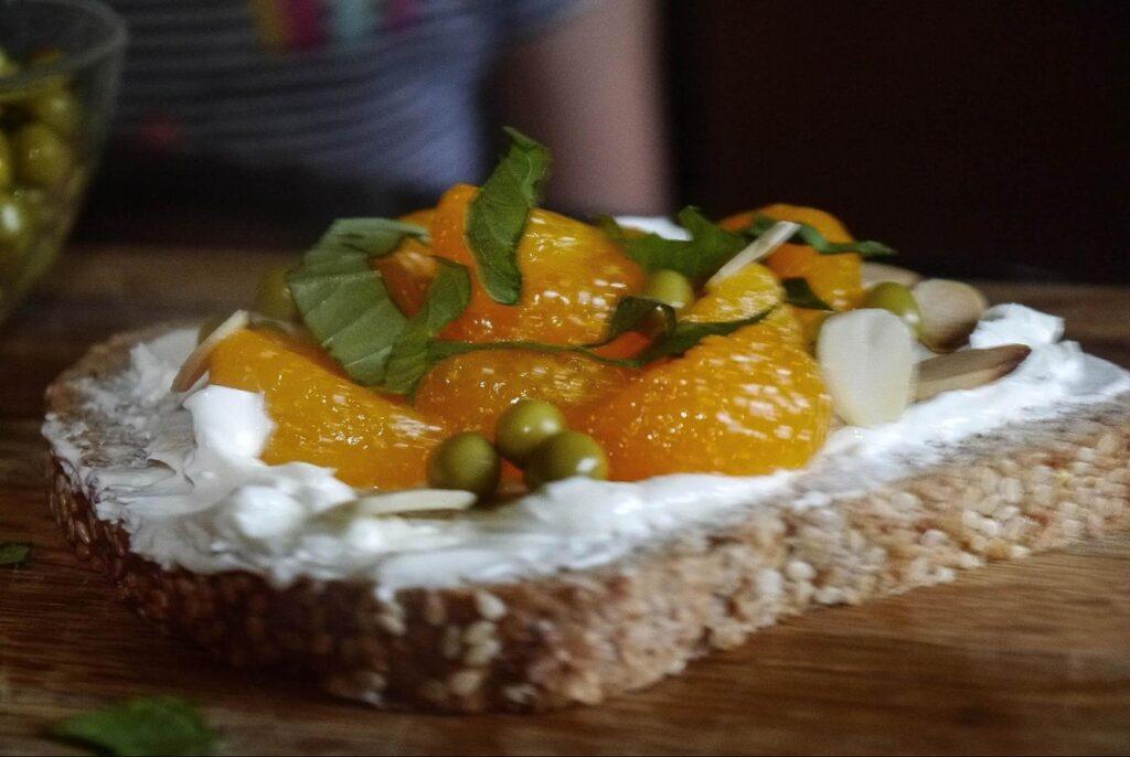 Mandarin & Sweet Pea Toast